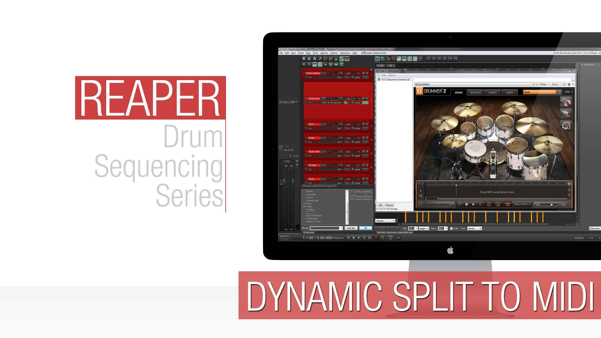 Reaper Tutorial: Dynamic Split to Midi (Drum Replacement)