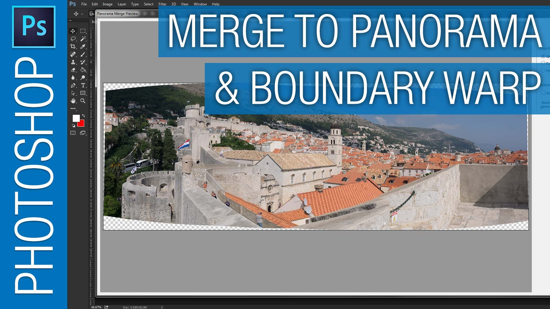 Photoshop Merge to Panorama & Boundary Warp