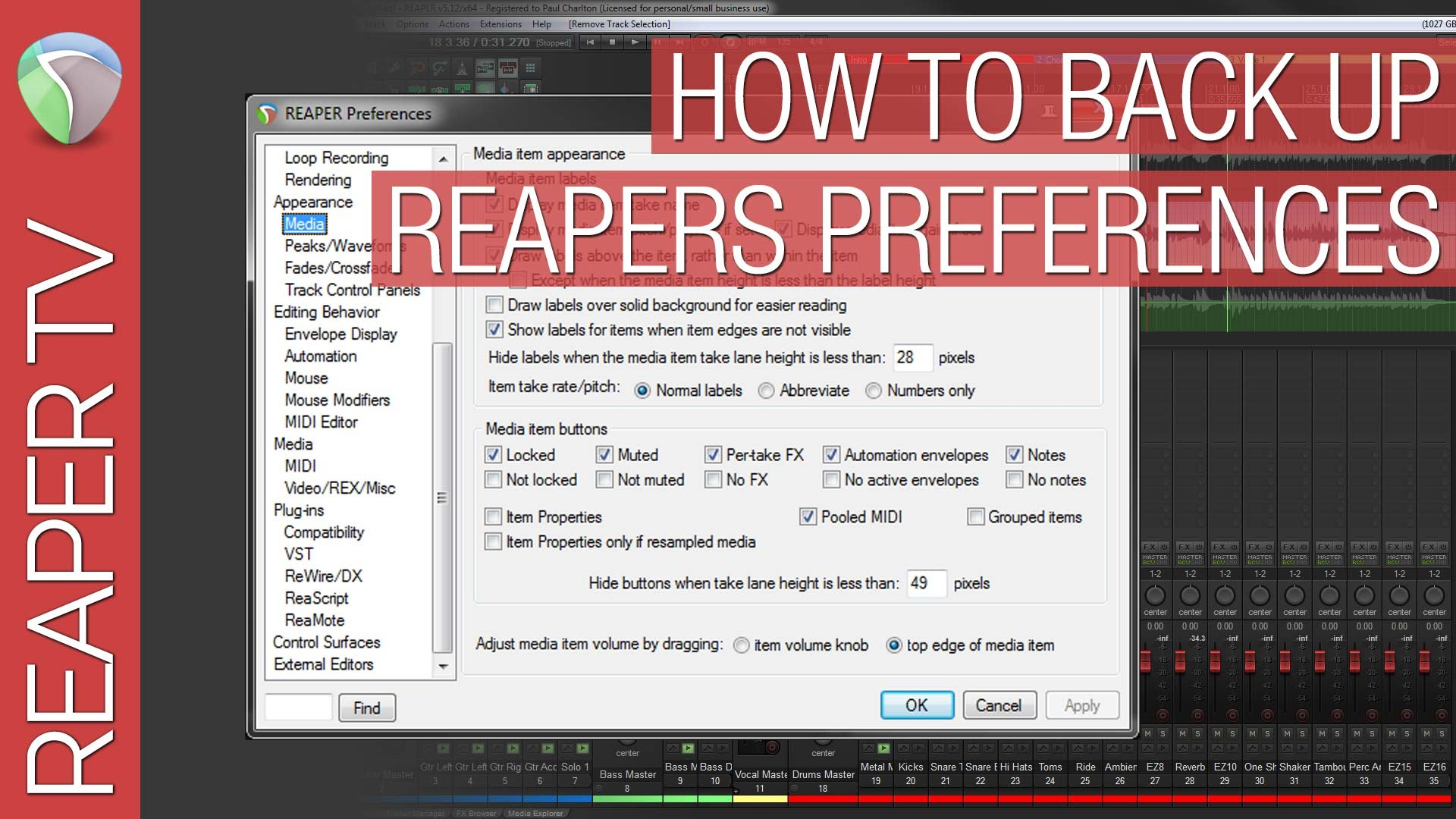 How to back up and export Reaper's Preferences.