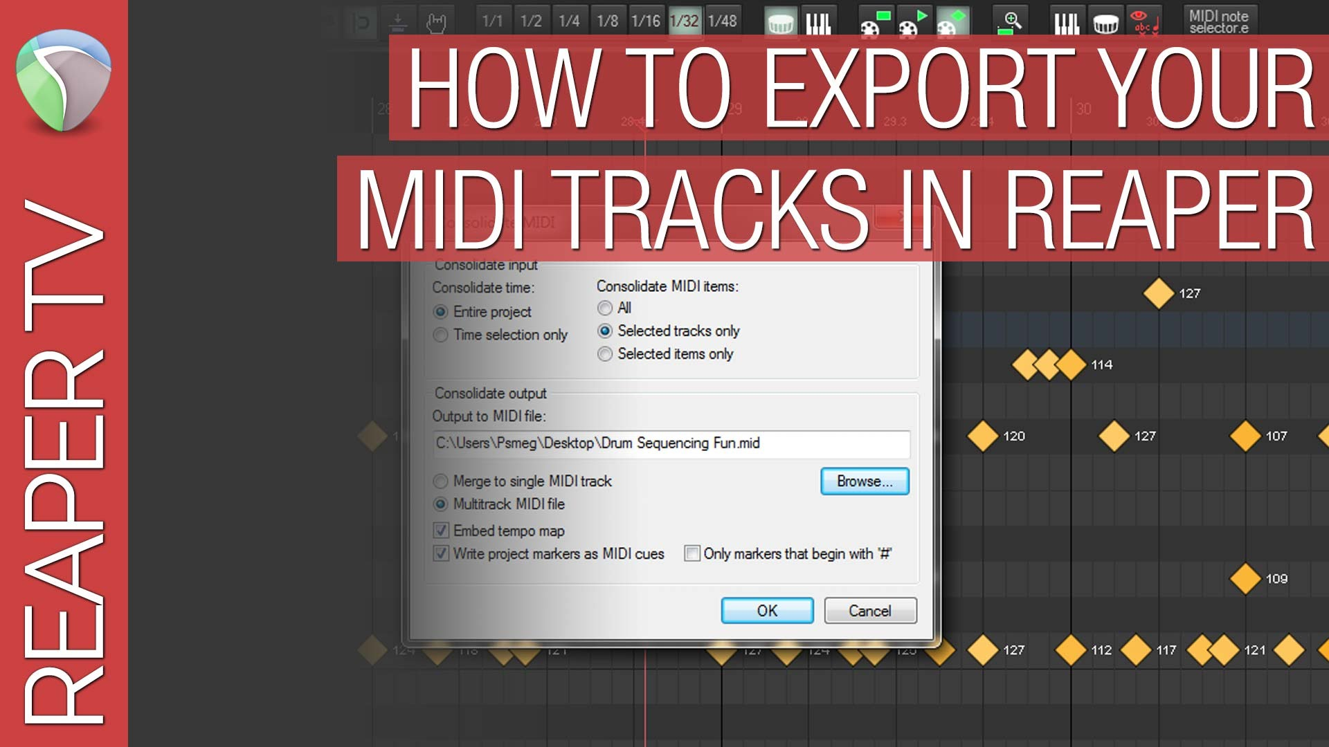 How To Export & Consolidate your Midi Tracks in Reaper