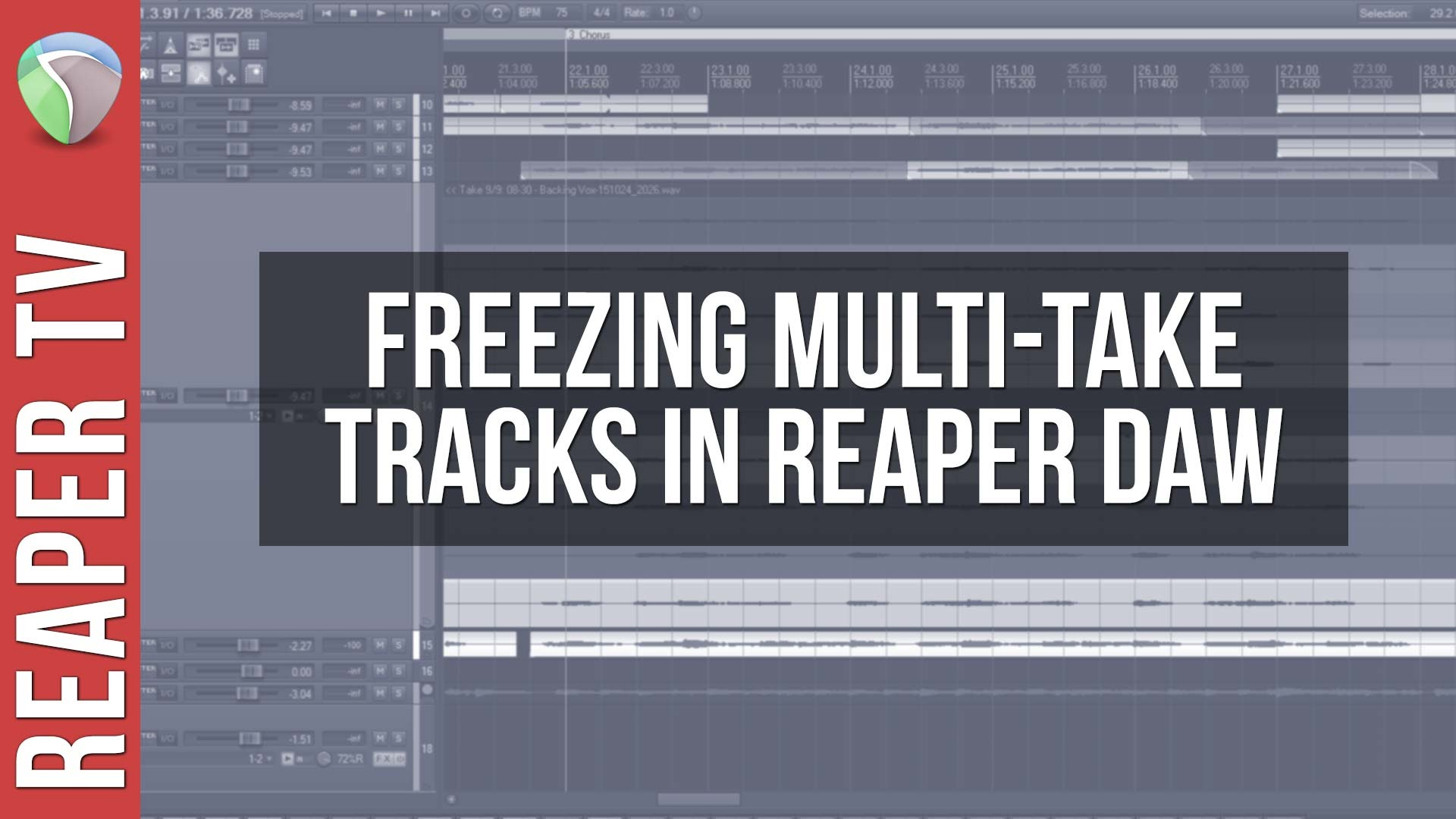 Freezing Multi-Take Tracks in Reaper 5 DAW