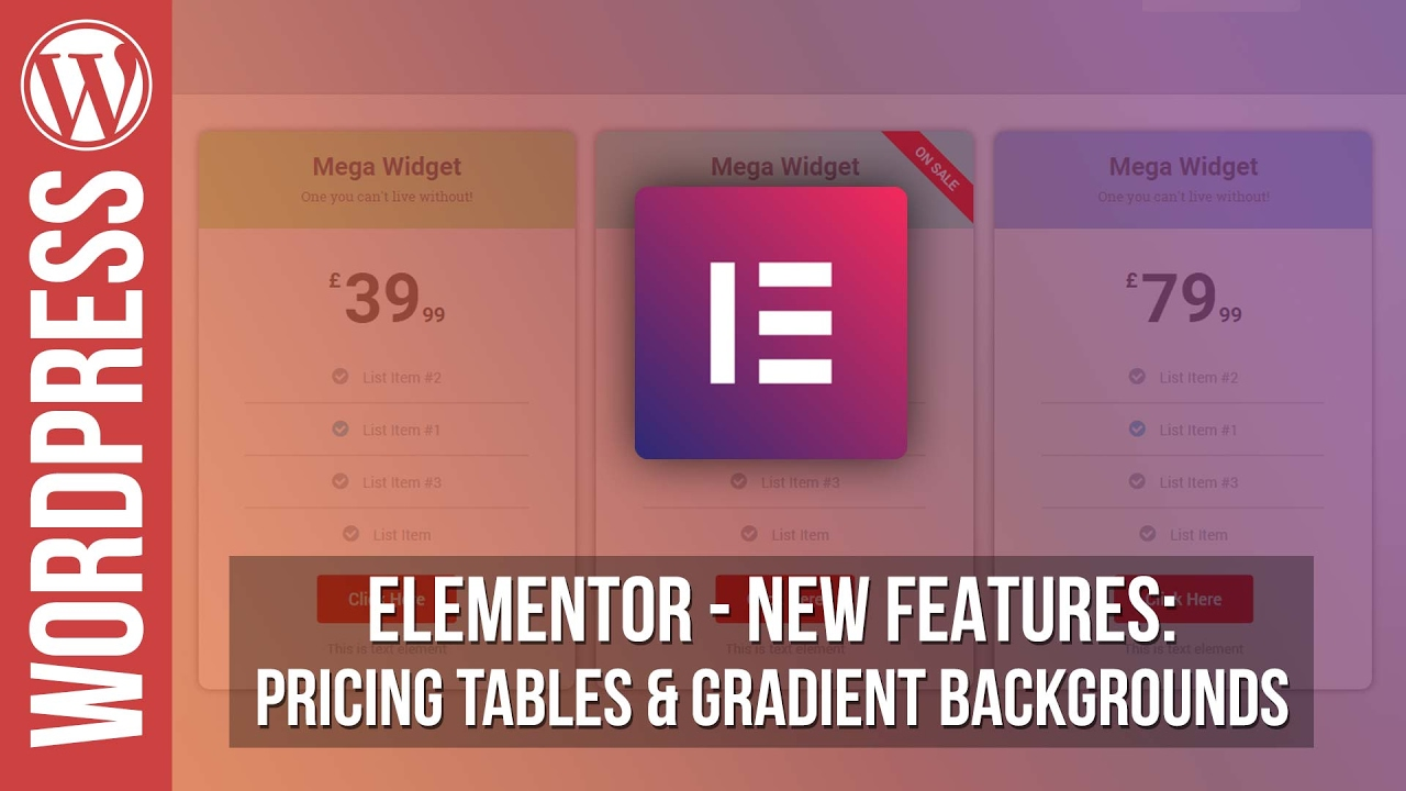 Elementor Pro for WordPress: Pricing Tables & Background Gradients