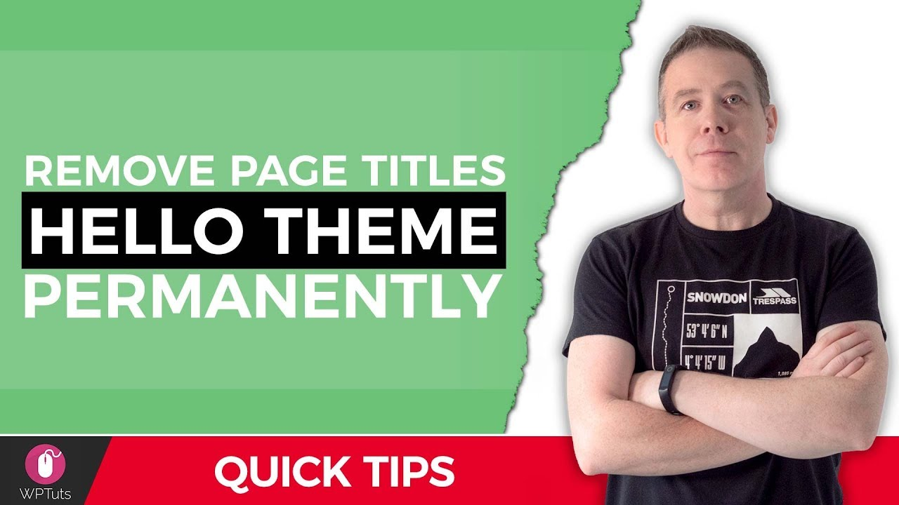 Elementor Hello Theme Page Title – How To Remove